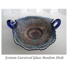 Vintage Early 1900's Fenton Bonbon Dish Cobalt Carnival Glass Persian Medallion Rare Handled
