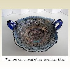 Vintage Early 1900's Fenton Bonbon Dish Cobalt Carnival Glass Persian Medallion Rare Handled