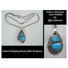 Signed Vintage EFFIE C. Native American Zuni Snake Pendant Turquoise Sterling Free Sterling Chain