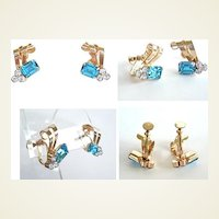 Exquisite 1940's Vintage Earrings Gold Filled Aquamarine & Clear Rhinestone Ribbon Swirls