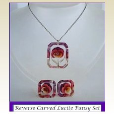 Vintage 1940's Reverse Carved Clear Lucite Intaglio PANSY Set Purples Magenta Yellow Set Necklace Earrings