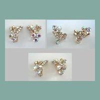 Vintage AB Aurora Borealis Rainbow Rhinestone Earrings Gold Tone Clips