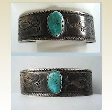 Rare Antique Circa 1900 Exceptional Native American Navajo Cuff Bracelet Coin Silver Green Turquoise