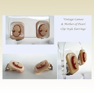 Beautiful Vintage Cameo & Mother of Pearl Clip Style Earrings