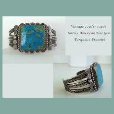 Vintage 1930s-1940s Spectacular BLUE GEM Turquoise Native American Navajo Bracelet Sterling Ornate Stampings