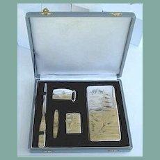 950 Silver 5Pc. Set Original Box 6+Inches Sterling Damascene Cigarette Case Engraved Lighter Knife Letter