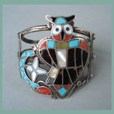 Rare Vintage Highly Collectible Theodore Edaakie Native American Zuni Owl Figural Bracelet Sterling Multiple Stone Inlay Signed