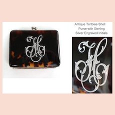 Antique Purse Genuine Tortoise Shell Sterling Silver Engraved Initials Fully Lined