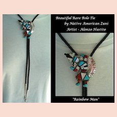 RARE Vintage Native American ZUNI Rainbow Man Bolo Tie Stones Inlaid Sterling by Alonzo Hustito