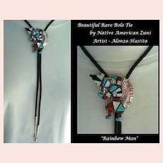 RARE Vintage Native American ZUNI Rainbow Man Bolo Tie Stones Inlaid Sterling by Alonzo Hustito