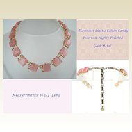 Fabulous Chunky Pink Cotton Candy Thermoset Choker Necklace Gold Tone Metal