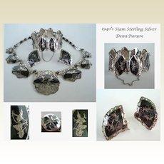 Premier Signed Vintage Ethnic Siam Sterling Silver Demi-Parue Necklace Bracelet & Earrings Enamel Mekkala