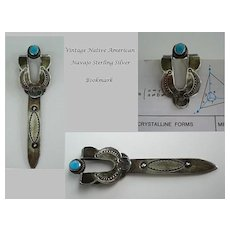 Ornate Vintage Native American Navajo Bookmark Sterling Silver Turquoise Hand Stamped