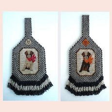 Rare 1920's Vintage Terrier Dog Purse Carnival Glass Beads Design on Both Sides