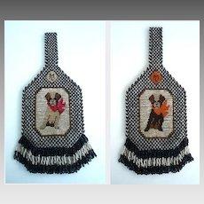 Rare 1920's Vintage Terrier Dog Purse Carnival Glass Beads Design on Both Sides