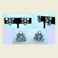 Sparkling Vintage Aurora (AB) Dreamy Rhinestone Earrings in Japanned Settings Triangular Shaped