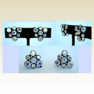 Sparkling Vintage Aurora (AB) Dreamy Rhinestone Earrings in Japanned Settings Triangular Shaped