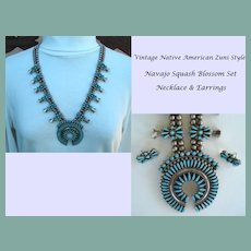 Vintage Smaller Scale Native American Navajo Squash Blossom Set Turquoise Sterling Silver Signed YAZZIE Earrings