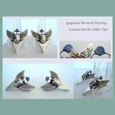 RARE Vintage Egyptian Revival Collar Tips Set Sterling Scarab Beetle Lazurite Food Ball Marked