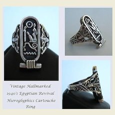 Unique Vintage 1940's Egyptian Revival Ring Hieroglyphics Pharaonic Cartouche 800 Silver Hallmarked