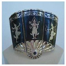 Rare Signed Vintage Ethnic Siam Sterling Silver Huge Panel Cuff Bracelet Mekkala & Other Gods