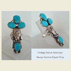 Vintage Signed Native American Navajo KACHINA Figural Long Ring Sterling Silver Blue Gem Turquoise