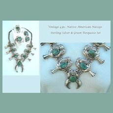 Vintage Signed Parure 4-Pc. Native American Squash-Blossom Necklace Bracelet Earrings Ring Turquoise Sterling Navajo
