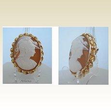 Vintage HOBSON Carved Cameo of Athena Brooch & Pendant 12KT Gold Filled Hallmarked