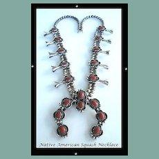 Large Vintage Native American CORAL Squash Blossom Necklace Navajo Sterling Silver