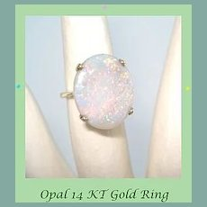 Vintage 14K Yellow Gold LARGE SPECTACULAR Fire Opal Gemstone Ring October Birthstone