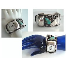 Unusual Vintage Native American Watch Cuff Blue Green Turquoise & Sterling Horse Head Overlays Navajo