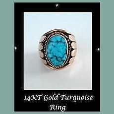 Fantastic Vintage Native American Signed 14KT Heavy Gold Ring Large Persian Turquoise Stone Navajo