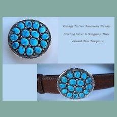 Vintage Native American Navajo Sterling Silver Belt Buckle Cluster 16 Kingman Turquoise Stones Signed