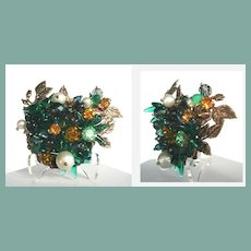 Vintage Haskell Style Loaded Brooch Pin Hand Wired Beads Rhinestones Crystals Art Glass Stones
