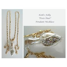 Vintage Kirk's Folly Necklace Large Glass Vial of Pixie Dust Pendant Aurora Rhinestones Fairies