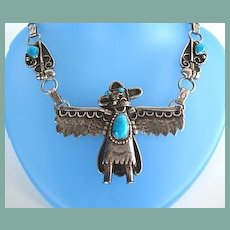 Vintage Signed Native American Navajo KACHINA Necklace Sterling Silver Handmade Decorative Chain Turquoise Figural