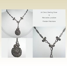Premier Art Deco Sterling Silver Marcasite Necklace Elaborate Lavaliere Flower Chain Absolutely Exquisite