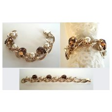 Vintage Chunky Large Bracelet Smoked Topaz Rhinestones & Lustrous Faux Pearls Gold Tone