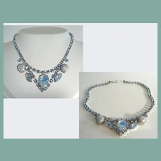 Vintage Hawaii Horizons Choker Necklace Sputnik & Opaline Art Glass Stones Blue Rhinestones
