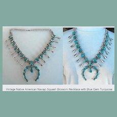 Magnificent Vintage Native American Squash Blossom Necklace Sensational Blue Gem Turquoise Sterling Silver Navajo