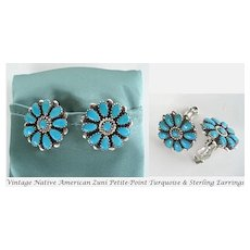 Vintage 1950's Native American ZUNI Petite Point Turquoise Earrings Sterling Silver Floral Design
