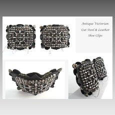 Extraordinary FRENCH Antique Mid-Victorian Shoe Clips Intricate Cut Steel Design Fancy Layers of Leather