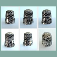 "Antique Simons Victorian Sterling Silver Thimble ""A Stitch in Time Saves Nine"" Size 9"