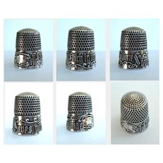 """Antique Simons Victorian Sterling Silver Thimble """"A Stitch in Time Saves Nine"""" Size 9"""