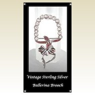 Unique 3-D Vintage Sterling Silver Ballerina Figural Brooch Pin Holding Garland of Rhinestones Marked