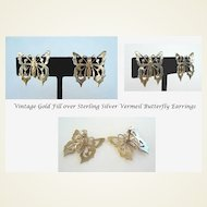 Vintage Vermeil Gold Fill over Sterling Silver Butterfly Earrings Exquisite Engraved Details Marked