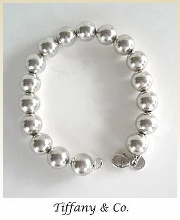 Vintage Chunky Tiffany Co Sterling Silver Bracelet Round Beads Signed Marked