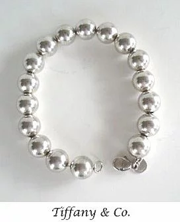 633758625 Vintage Chunky Tiffany & Co. Sterling Silver Bracelet Round Beads Signed  Marked
