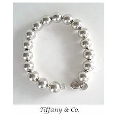 Vintage Chunky Tiffany & Co. Sterling Silver Bracelet Round Beads Signed Marked
