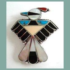 Vintage 1950's Native American Zuni Thunderbird Brooch Pin Sterling